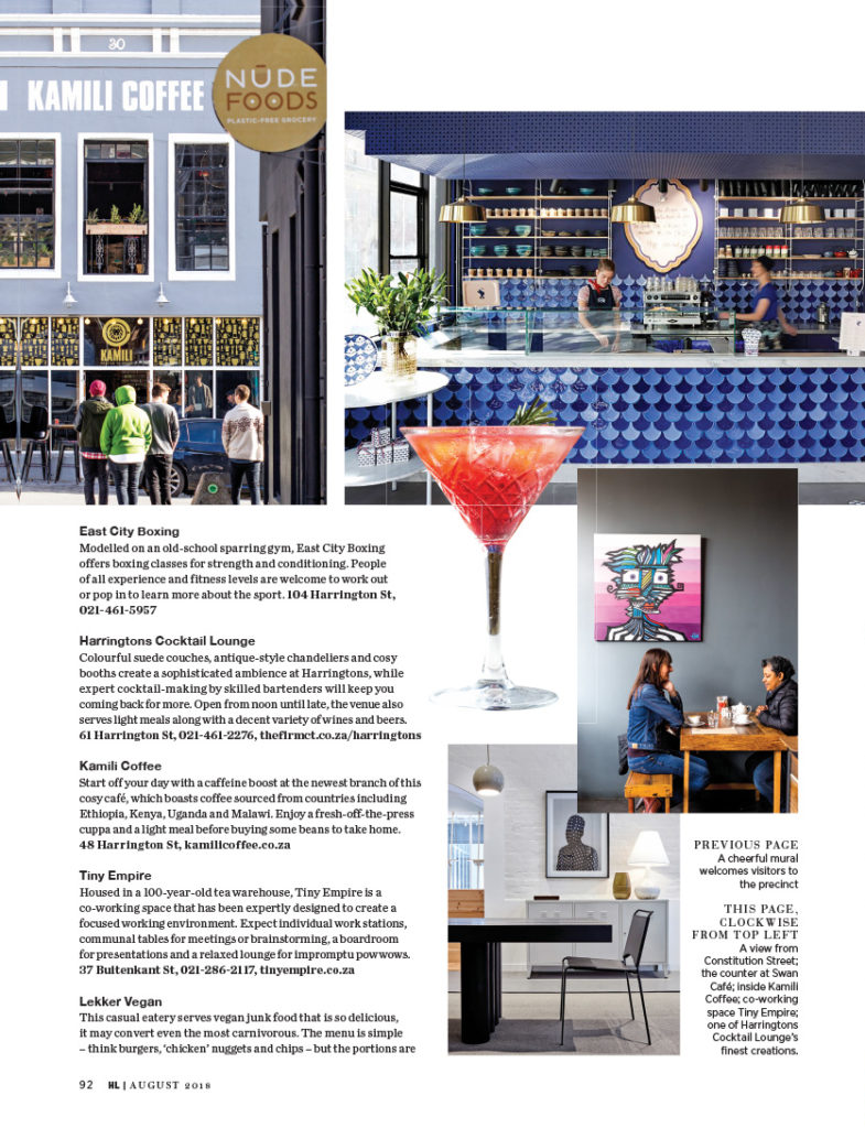 House and Leisure, August 2018 Harrington feature, Swan Cafe