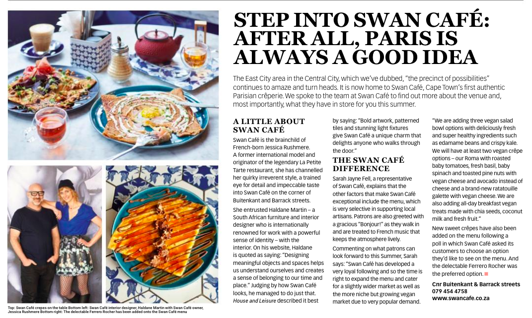 City Views newspaper, CCID, Sumer 2018/19. Feature on Swan Cafe.