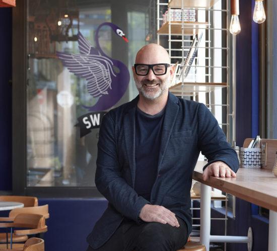 Haldane Martin at Swan Café creperie, Buitenkant Street, Cape Town. Interior design by Haldane Martin. Photo Micky Hoyle.