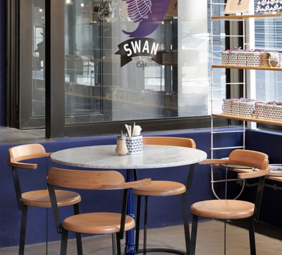 Swan Café creperie, Buitenkant Street, Cape Town. Interior design by Haldane Martin. Photo Micky Hoyle.