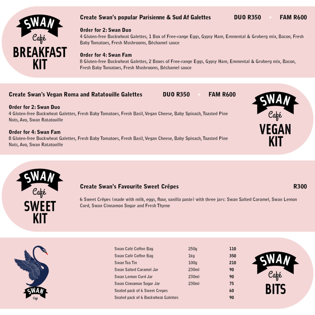 Swan Kit menu for delivery